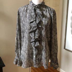 Chaps black & White zig zag ruffle front blouse